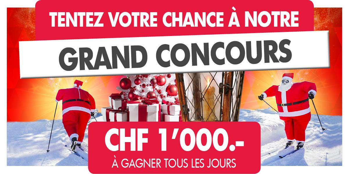Tentez votre chance à notre grand concours et gagnez CHF 1'000.- chaque jour