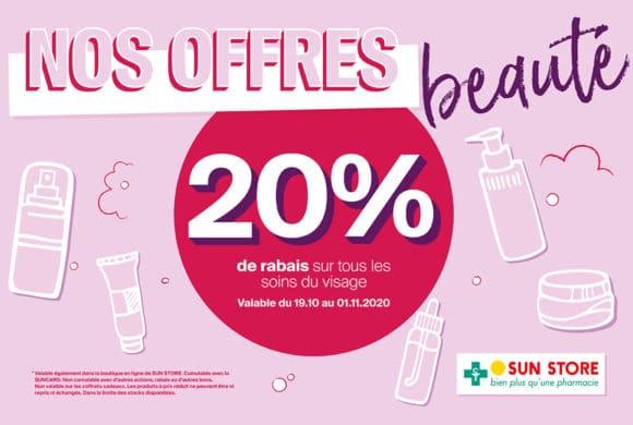 Sun Store – 20% de rabais sur tous les soins du visage